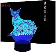 3D Fox Night Light USB Touch Switch Decor Table