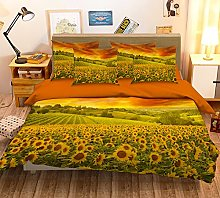 3D Golden Sunflower Field 142 Bedding Pillowcases