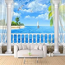 3D HD Mural Wallpaper with Sea View Roman Columns