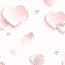 3D Hearts Glitter Wallpaper - Pink - J92603