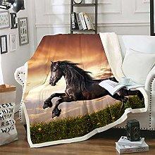 3D Horse Print Fleece Blankets for Boys Adults
