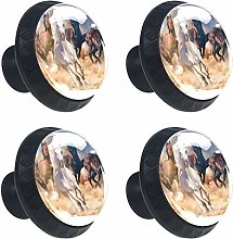 3D Horse Riding 4PCS Round Drawer Knob Pull Handle