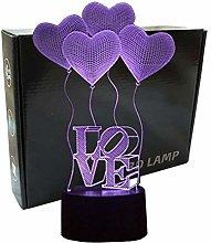 3D Illusion 4 Love Heart Balloons Night Light,USB
