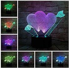3D Illusion Lamp Kids Romantic Love Heart Shape