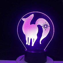 3D Illusion Lamp Led Night Light Animal Fox