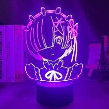 3D Illusion Lamp Led Night Light Anime Rem Re Zero