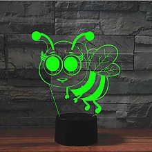 3D Illusion Lamp Led Night Light Cute Cartoon Bee