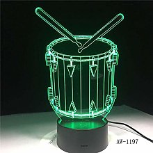 3D Illusion lamp led Night Light Drum with 7
