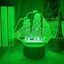 3D Illusion Lamp Led Night Light Sailing Boat
