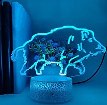 3D Illusion Lamp Remote Control Night Light 3D LED