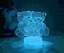 3D Illusion Lamp Remote Control Night Light Cute