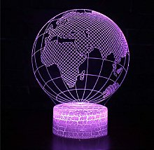 3D Illusion Lamp Remote Control Night Light Earth