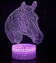 3D Illusion Lamp Remote Control Night Light Horse