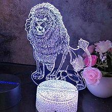 3D Illusion Lamp Remote Control Night Light Lion
