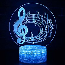 3D Illusion Lamp Remote Control Night Light Music
