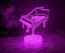 3D Illusion Lamp Remote Control Night Light Piano