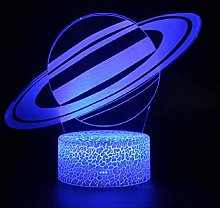 3D Illusion Lamp Remote Control Night Light Planet