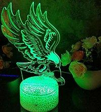 3D Illusion Lamp Remote Control Night Light Raptor