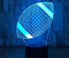 3D Illusion Lamp Remote Control Night Light Rugby