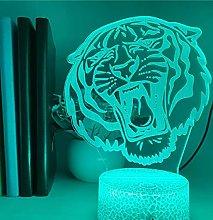 3D Illusion Lamp Remote Control Night Light Tiger