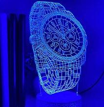 3D Illusion Lamp Remote Control Night Light Watch