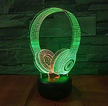 3D Lamp Headset DJ Illlusion Music Earphone Model