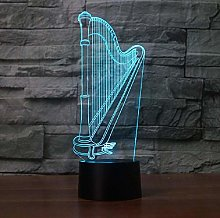 3D Led Harp Modelling Night Light Touch Desk Table
