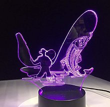 3D LED Night Light Go Fishing 7 Color Change LED