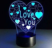 3D Led Night Light I Love You Table Lamp 7 Colors