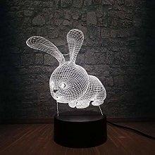 3D Led Night Light Lovely Cartoon Rabbit