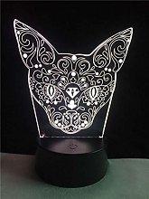 3D Led Night Light Novelty Flower Cat Head Lamp