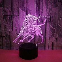 3D Led USB Creative Cute Cow Shaped Table Lamp
