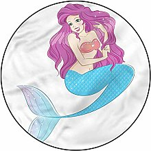 3D Mermaid Pattern Area Rugs Carpets,4'