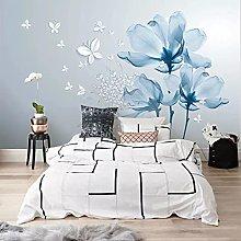3D Modern Abstract Wallpaper, Blue Flowers,