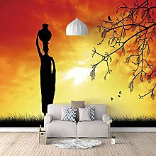 3D Mural Abstract Figures at Dusk Bedroom