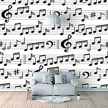 3D Mural Black Music Symbol Bedroom Wallpaper