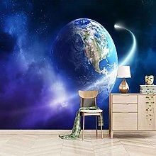 3D Mural Blue Cosmic Planet Bedroom Wallpaper