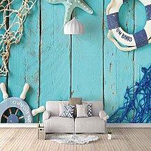 3D Mural Blue Fishnet Rudder Bedroom Wallpaper