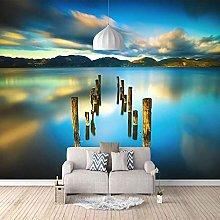 3D Mural Blue Lake Scenery Bedroom Wallpaper Photo