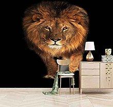 3D Mural Golden Animal Lion Bedroom Wallpaper