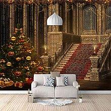 3D Mural Golden Christmas House Decoration Bedroom