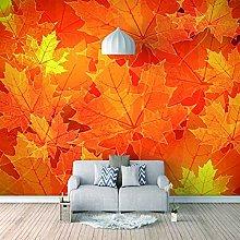 3D Mural Red Maple Leaf Background Bedroom