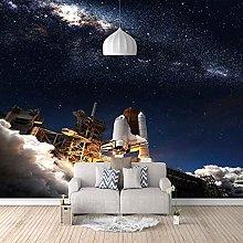 3D Mural Star Rocket Launch Bedroom Wallpaper