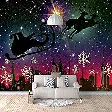 3D Mural Starry Santa Bedroom Wallpaper Photo