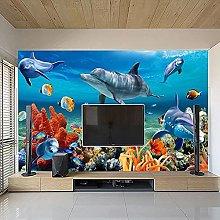 3D Mural Wallpaper for Kids Underwater Dolphin