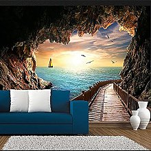 3D Mural Wallpaper for Wall Sunset Seascape from