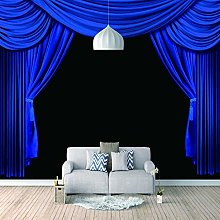 3D Mural Wallpaper Stage Blue Curtain Tv Wall