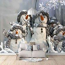 3D Mural Winter Christmas Snowman Pattern Bedroom