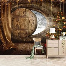 3D Mural Wooden House Christmas Decoration Bedroom