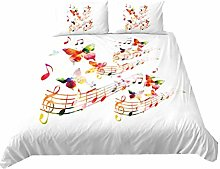 3D Musical Instrument Style Bedding Set White